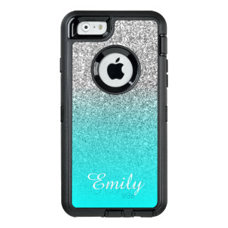 Silver Glitter Aqua Ombre Personalized OtterBox Defender iPhone Case