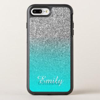 Silver Glitter Aqua Ombre Personalized OtterBox Symmetry iPhone 8 Plus/7 Plus Case