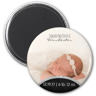 Silver Glitter | Baby Photo Birth Announcement 2 Inch Round Magnet