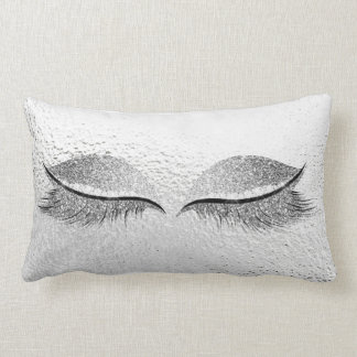Silver Glitter Black Glam Makeup Lashes Gray Lumbar Pillow