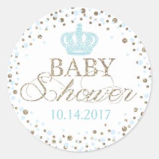 Silver Glitter Blue Crown Royal Prince Baby Shower Round Sticker