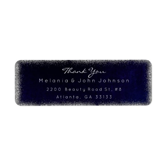 Silver Glitter Blue Navy Thank You RSVP Delicate