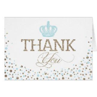 Silver Glitter Blue Royal Crown Prince Thank You Card