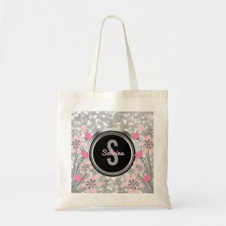 Silver Glitter Bokeh Pink Floral | Monogram Script Tote Bag