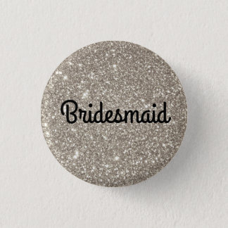 Silver Glitter Bridesmaid 1 Inch Round Button