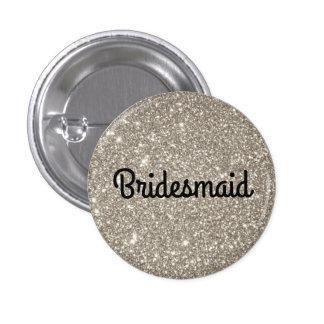 Silver Glitter Bridesmaid 1 Inch Round Button