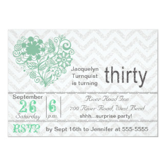 Silver Glitter Chevron Stripe 30th Birthday Invite