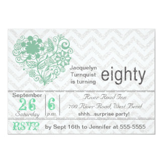Silver Glitter Chevron Stripe 80th Birthday Invite