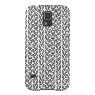 Silver Glitter Chevrons Knit Style Print Galaxy S5 Covers