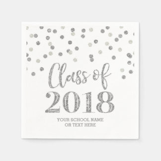 Silver Glitter Confetti Class of 2018 Graduation Paper Napkin