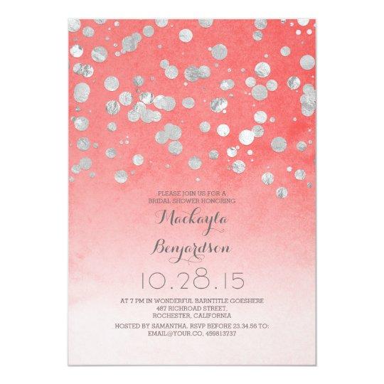 silver glitter confetti coral pink bridal shower card