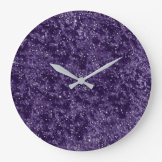 Silver Glitter Confetti Purple Violet Velvet Grape Large Clock