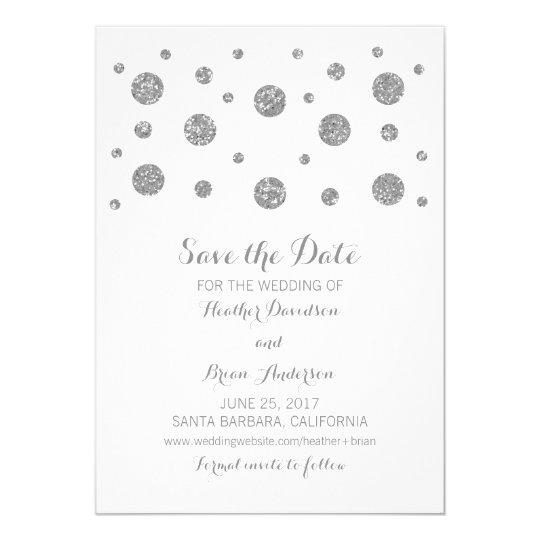 Silver Glitter Confetti Save the Date Invite