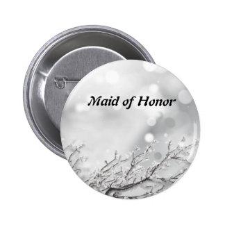 Silver Glitter Confetti Snow Tree Maid of Honor 2 Inch Round Button