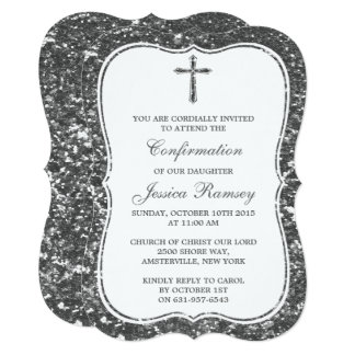 "Silver Glitter Cross Holy Communion Confirmation 5"" X 7"" Invitation Card"