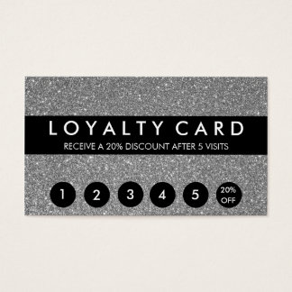 Silver Glitter Customer Loyalty Business Card