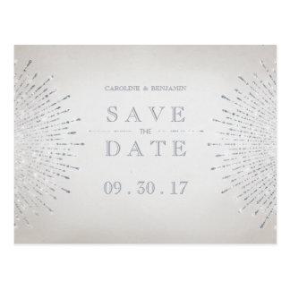 Silver glitter deco vintage wedding save the date postcard