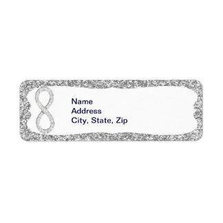 Silver Glitter Diamond Infinity Address Labels