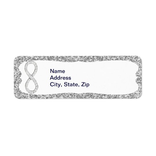 Silver Glitter Diamond Infinity Address Labels