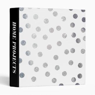 Silver Glitter Dots on Black White Binder