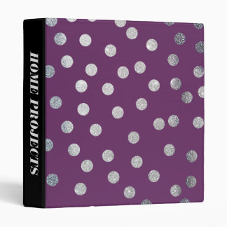 Silver Glitter Dots on Plum Purple Binder