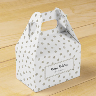 Silver glitter dots party favor boxes