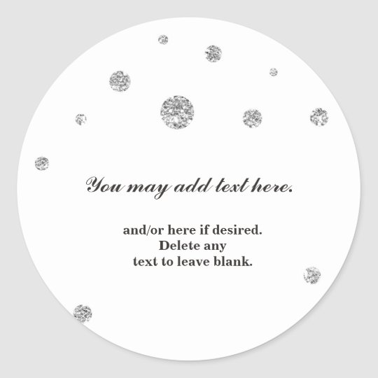 Silver Glitter Dots White Wedding Bridal Sticker
