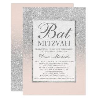 SIlver glitter elegant blush chic Bat Mitzvah Card
