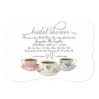 "Silver Glitter Faux Bridal Shower Tea Party Modern 5"" X 7"" Invitation Card"