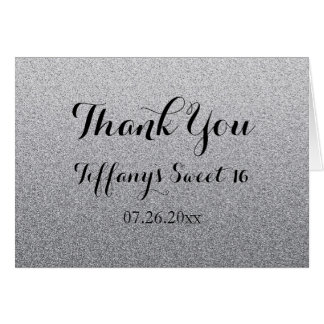 Silver Glitter Faux Ombre Sweet 16 Thank You Card