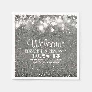 silver glitter foil string lights wedding disposable napkins