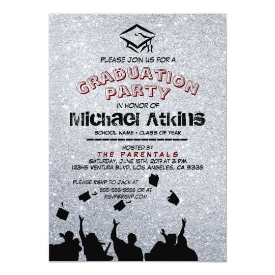 Silver Glitter Graduation Party Invitation