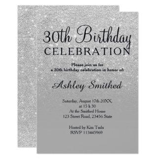 Silver glitter grey ombre chic 30th birthday card