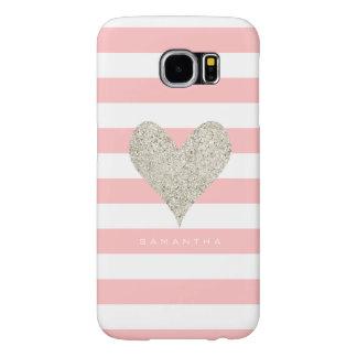 Silver Glitter Heart Samsung Galaxy S6 Cases