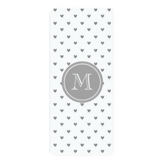 Silver Glitter Hearts with Monogram 4x9.25 Paper Invitation Card