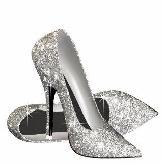 Silver Glitter High Heel Shoes Photo Cutouts