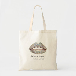 silver glitter lips makeup artist tote bag