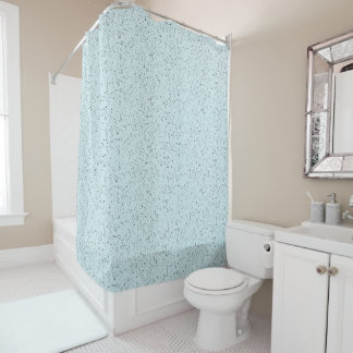 Silver Glitter Look Blue Shower Curtain