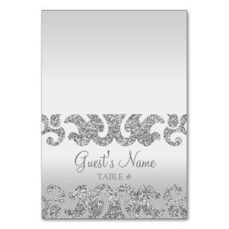 Silver Glitter Look Custom Wedding Escort Cards