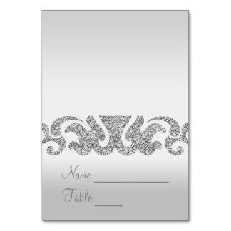 Silver Glitter Look Wedding Escort Cards
