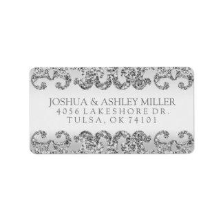 Silver Glitter Look Wedding Label