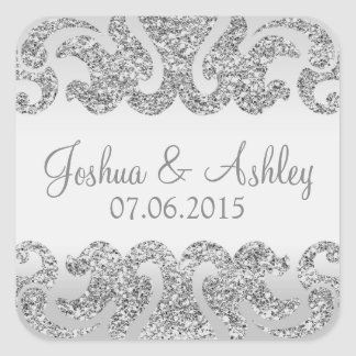 Silver Glitter Look Wedding Square Sticker
