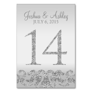 Silver Glitter Look Wedding Table Numbers-14 Table Cards