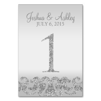 Silver Glitter Look Wedding Table Numbers-1 Table Card