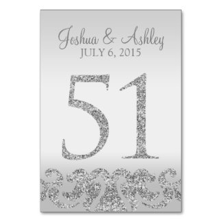 Silver Glitter Look Wedding Table Numbers-51 Card