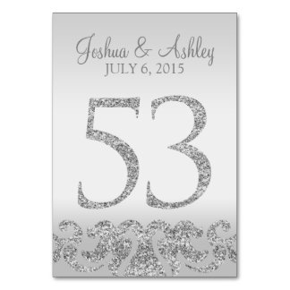 Silver Glitter Look Wedding Table Numbers-53 Card