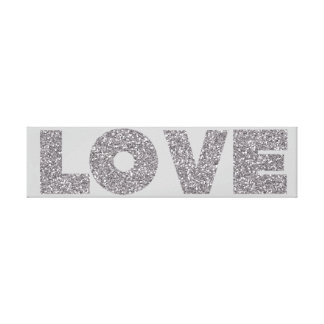 Silver Glitter Love Stretched Canvas Print