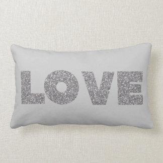 Silver Glitter Love Lumbar Pillow