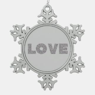 Silver Glitter Love Pewter Snowflake Ornament