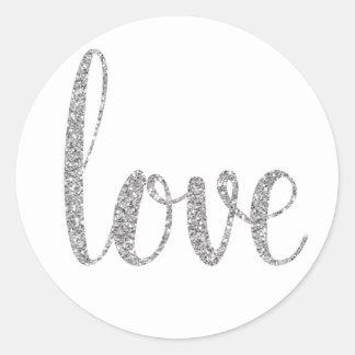 Silver glitter love stickers, round classic round sticker